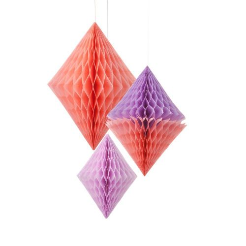 Paper Honeycomb Diamond 3pk -Purple